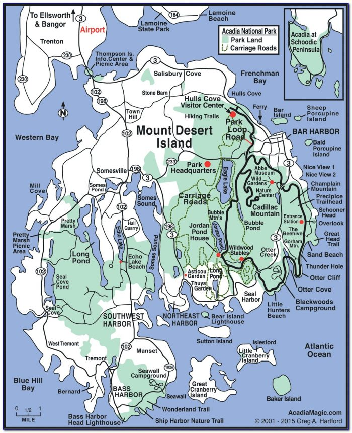 Acadia National Park Hiking Trail Map
