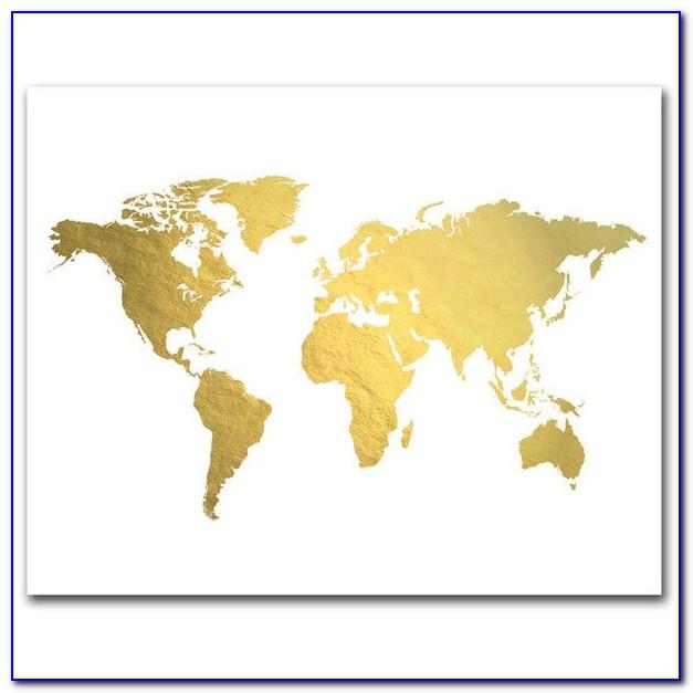 Adamsaleartprints Gold Foil Map Prints