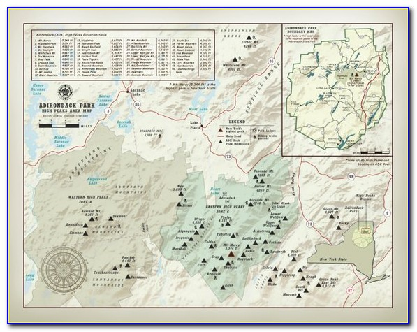 Adirondack 46 High Peaks Raised Relief Map