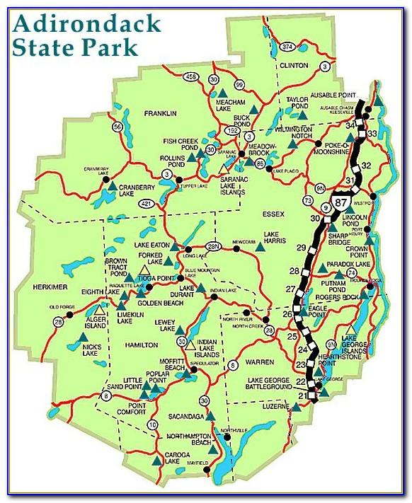 Adirondack Mountain Peaks Map