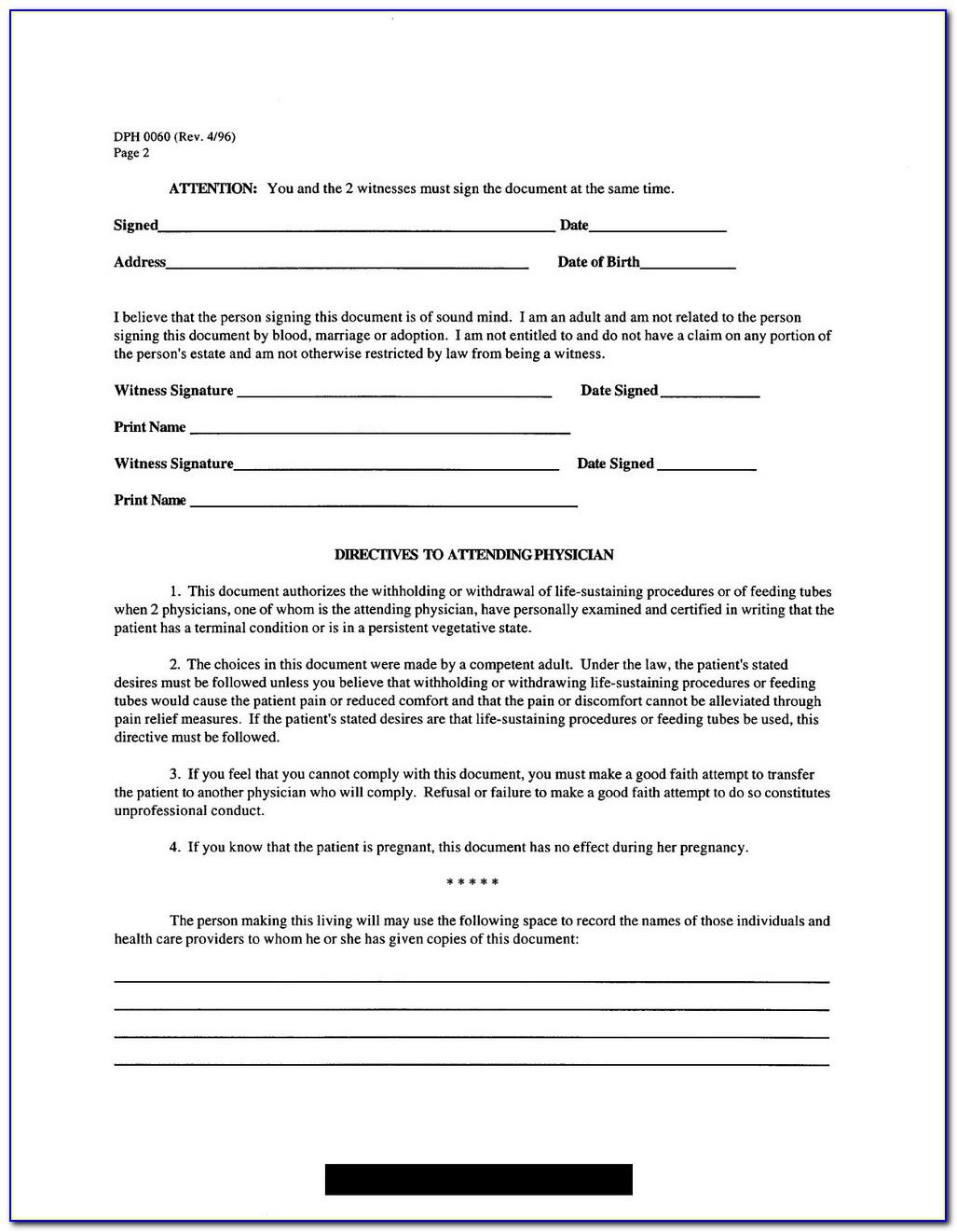 Advance Healthcare Directive Form Ct