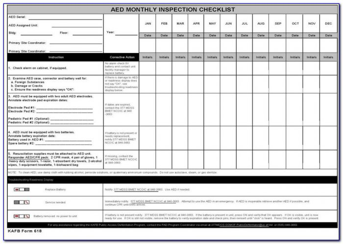 Aed Daily Checklist Forms