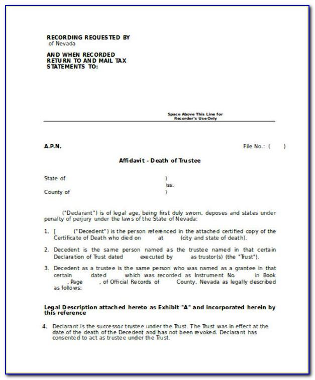 Affidavit Of Death Of Trustee Form California