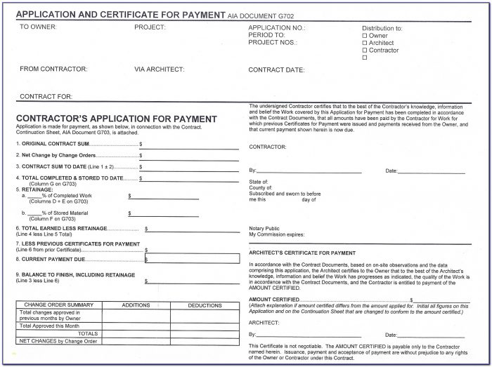 Aia Contract Template Unique Aia Form G702 Free Download