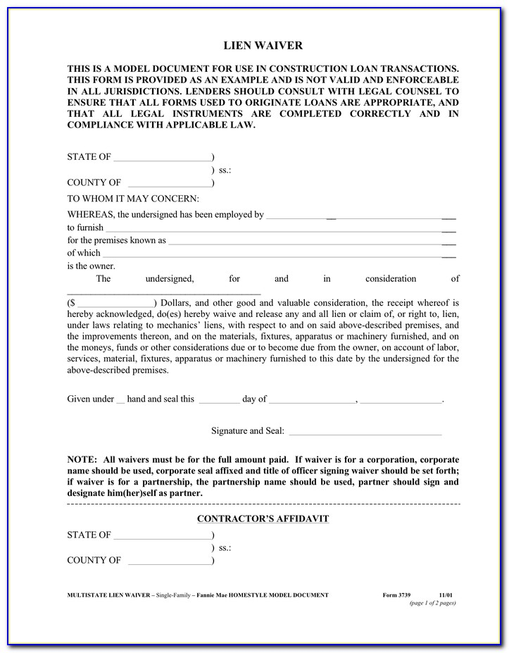 Aia Lien Waiver Form Free