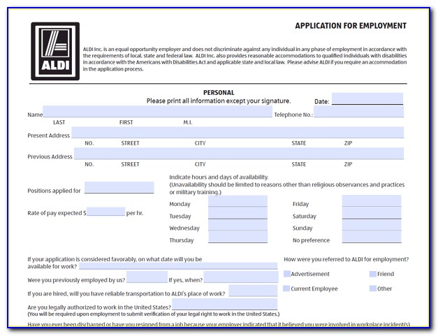 Aldi Jobs Application Form