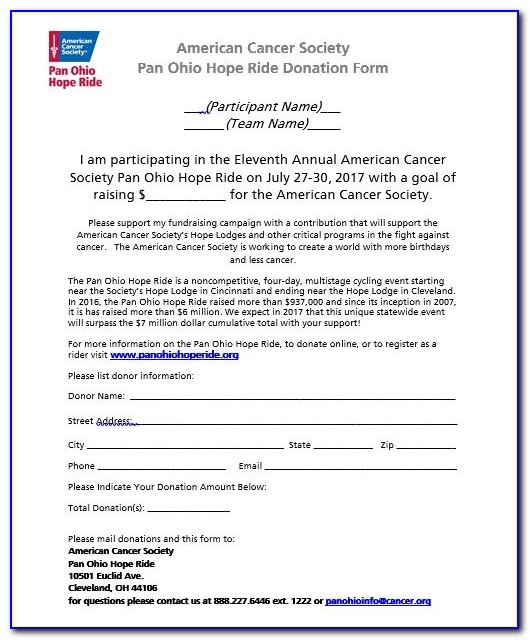 American Cancer Society Mail Donation Form