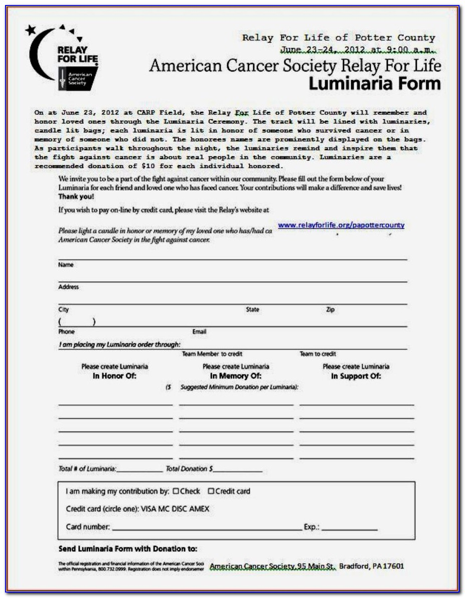 American Cancer Society Offline Donation Form