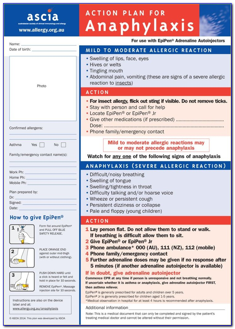 Anaphylaxis Action Plan Form Australia