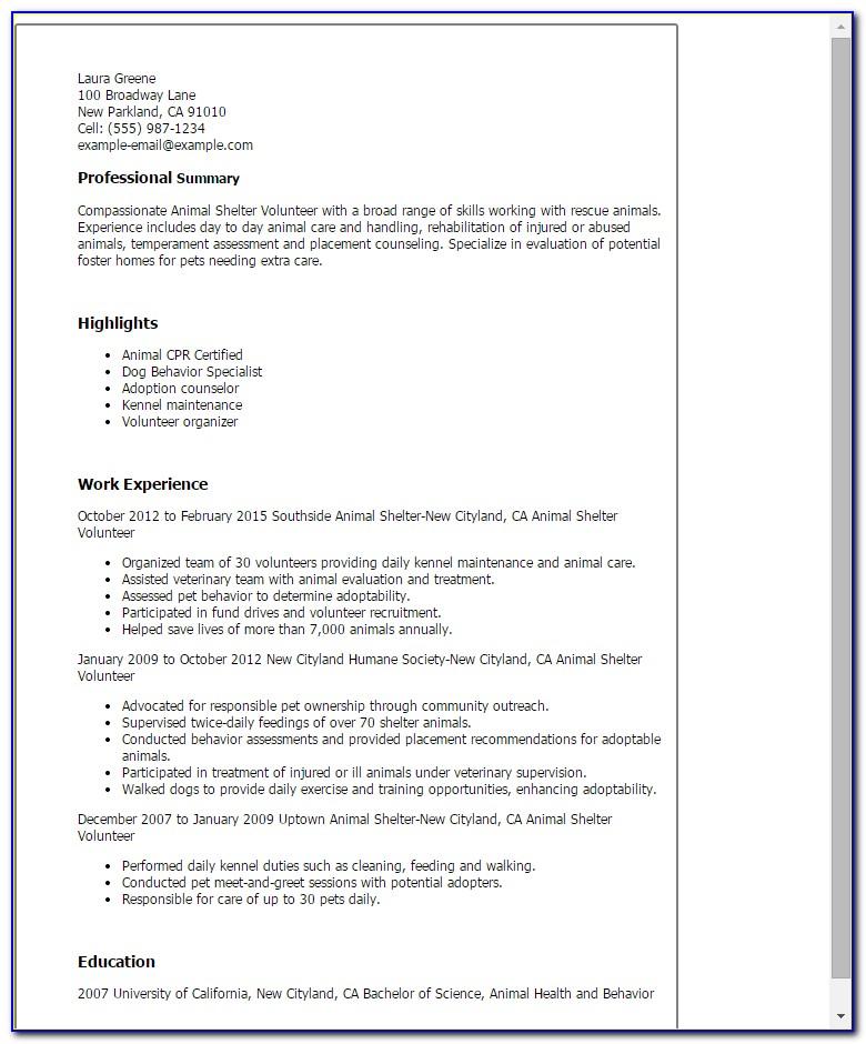 Animal Rescue Job Application