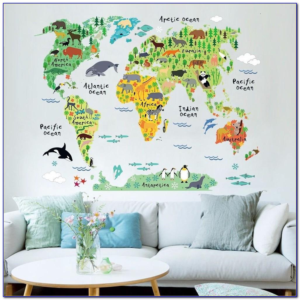 Animal World Map Wall Sticker
