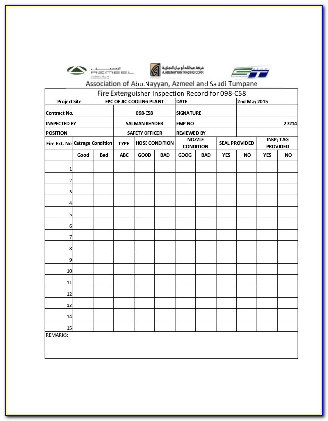 Annual Fire Extinguisher Inspection Form