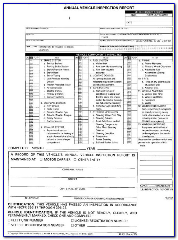 Annual Periodic Vehicle Inspection Report Form