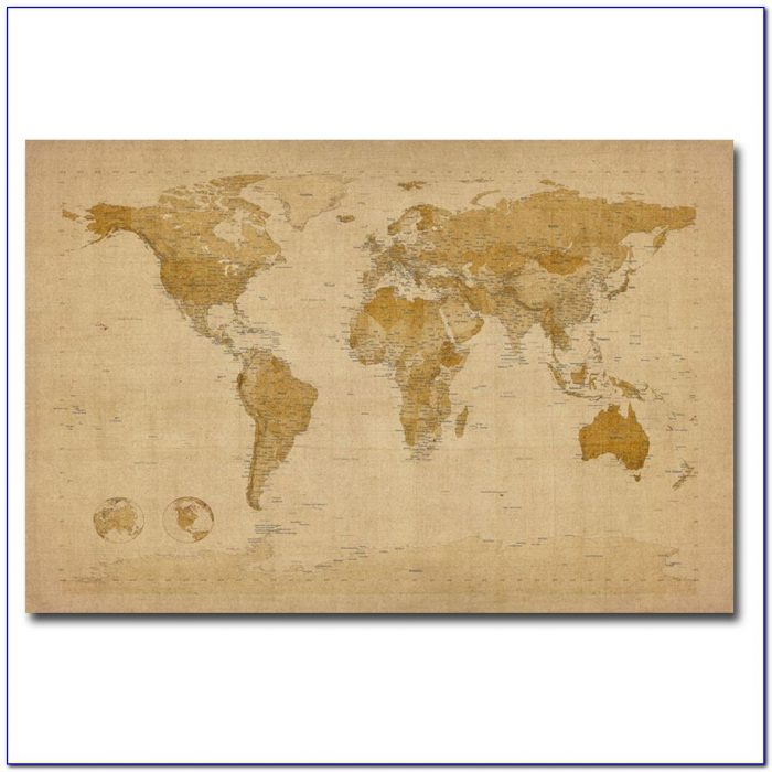 Antique World Map Canvas