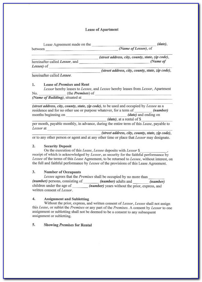 Apartment Lease Agreement Form Texas
