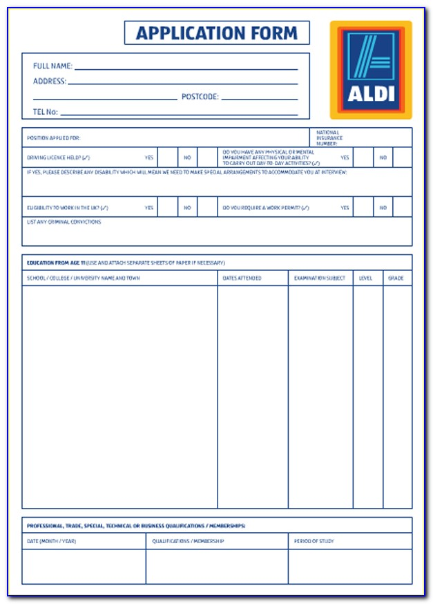 Application Form For Aldi Jobs