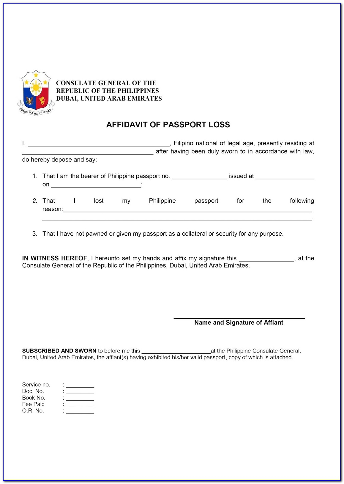 Application Form For Lost Canadian Passport