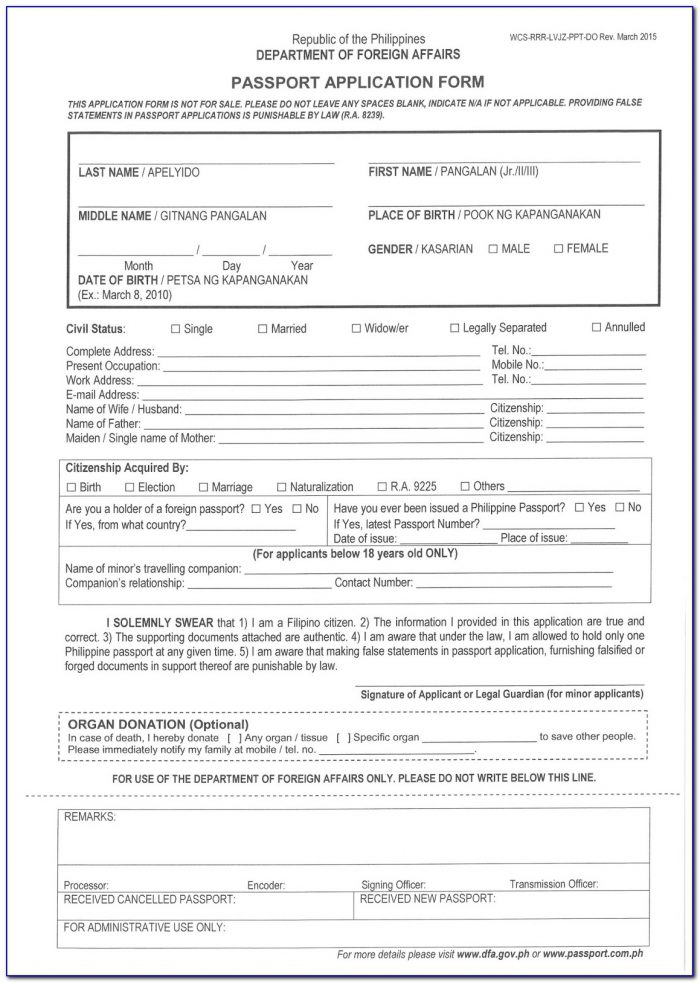 Application Form For Lost Indian Passport