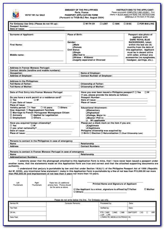 Application Form For Lost Mauritian Passport