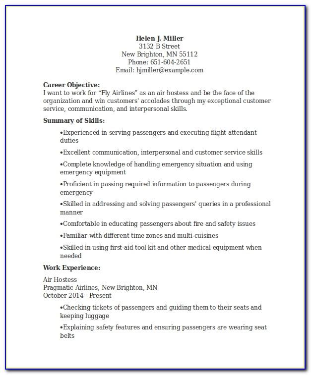 Application Letter For Air Hostess Job