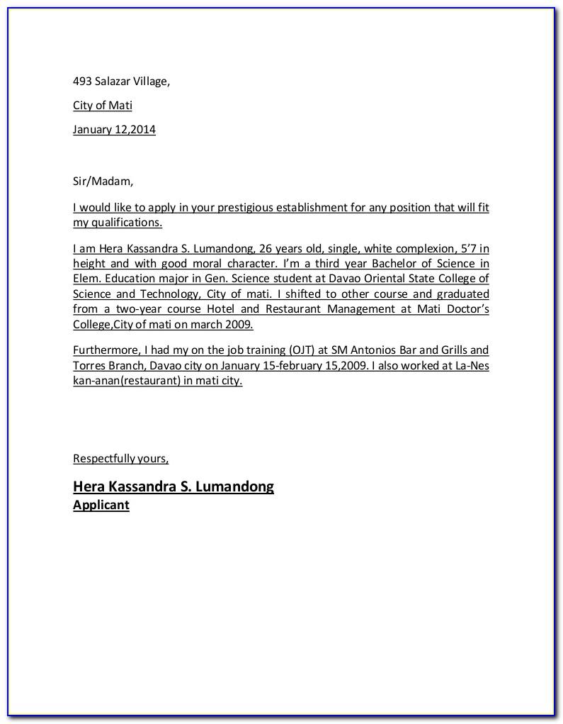 Application Letter For Hotel And Restaurant Management Fresh Graduate