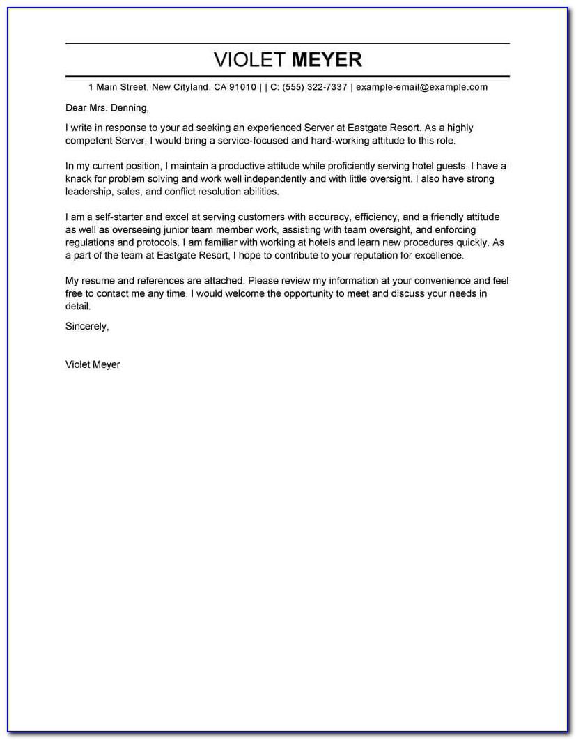 Application Letter For Hotel And Restaurant Management