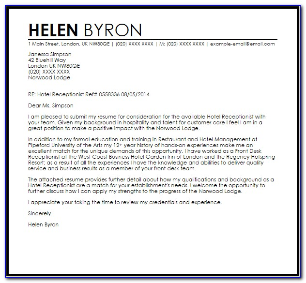 Application Letter For Hotel And Restaurant Services