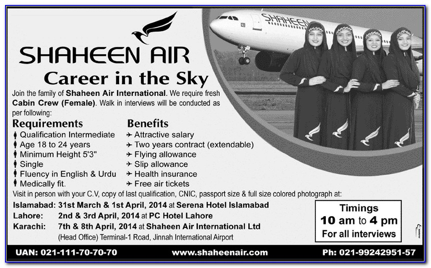 Apply Online For Air Hostess Job In Pakistan