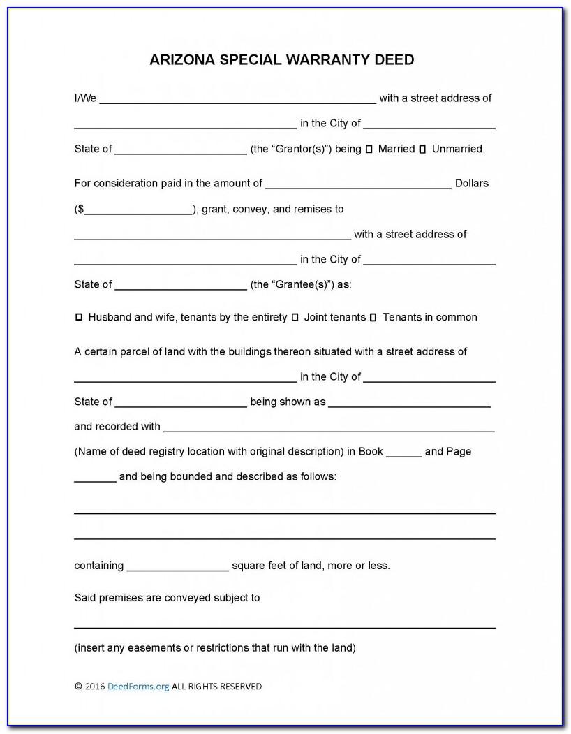 Arizona Special Warranty Deed Form