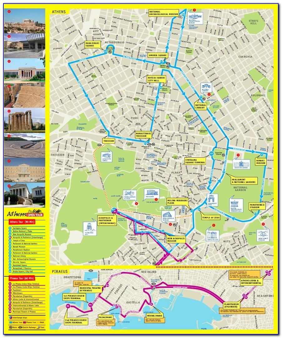 Athens Hop On Hop Off Tour Map