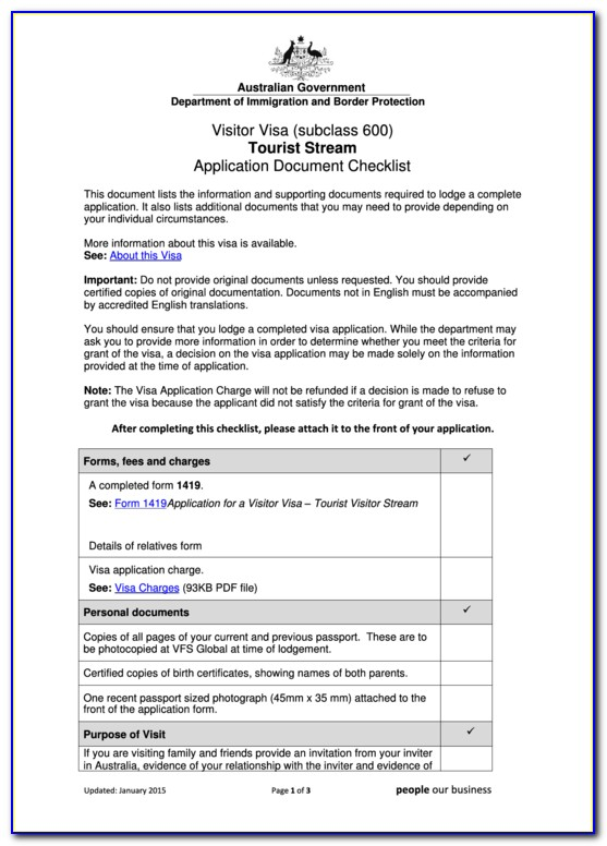 Australia Tourist Visa Application Form 600
