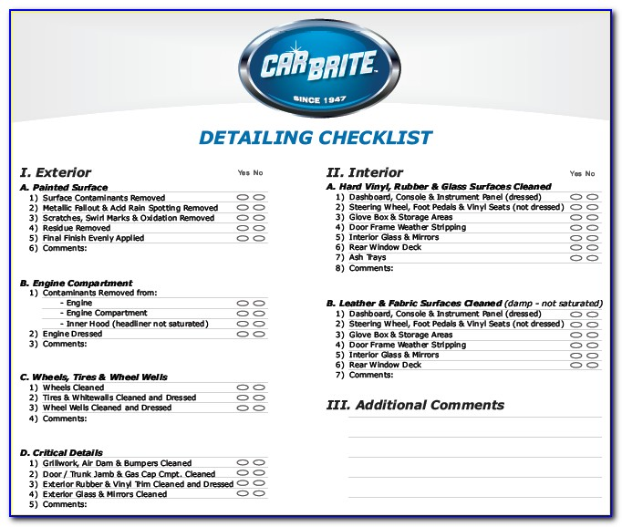 Auto Detailing Business Forms