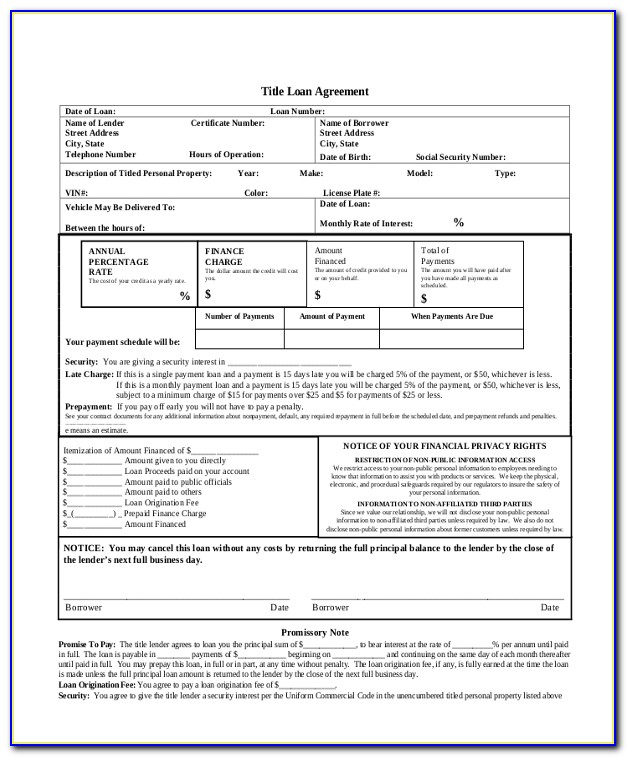 Auto Loan Contract Form