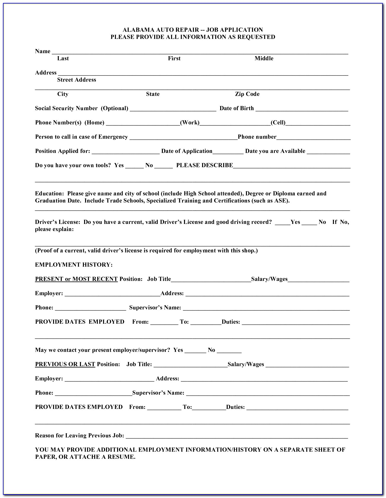 Auto Mechanic Job Application Form