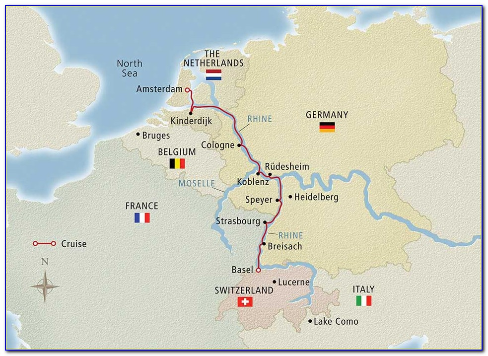 Avalon Rhine River Cruise Map