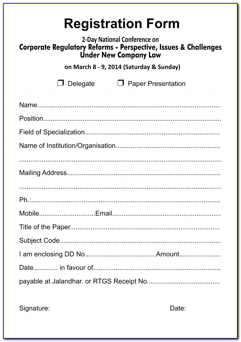 Baseball Camp Registration Form Template
