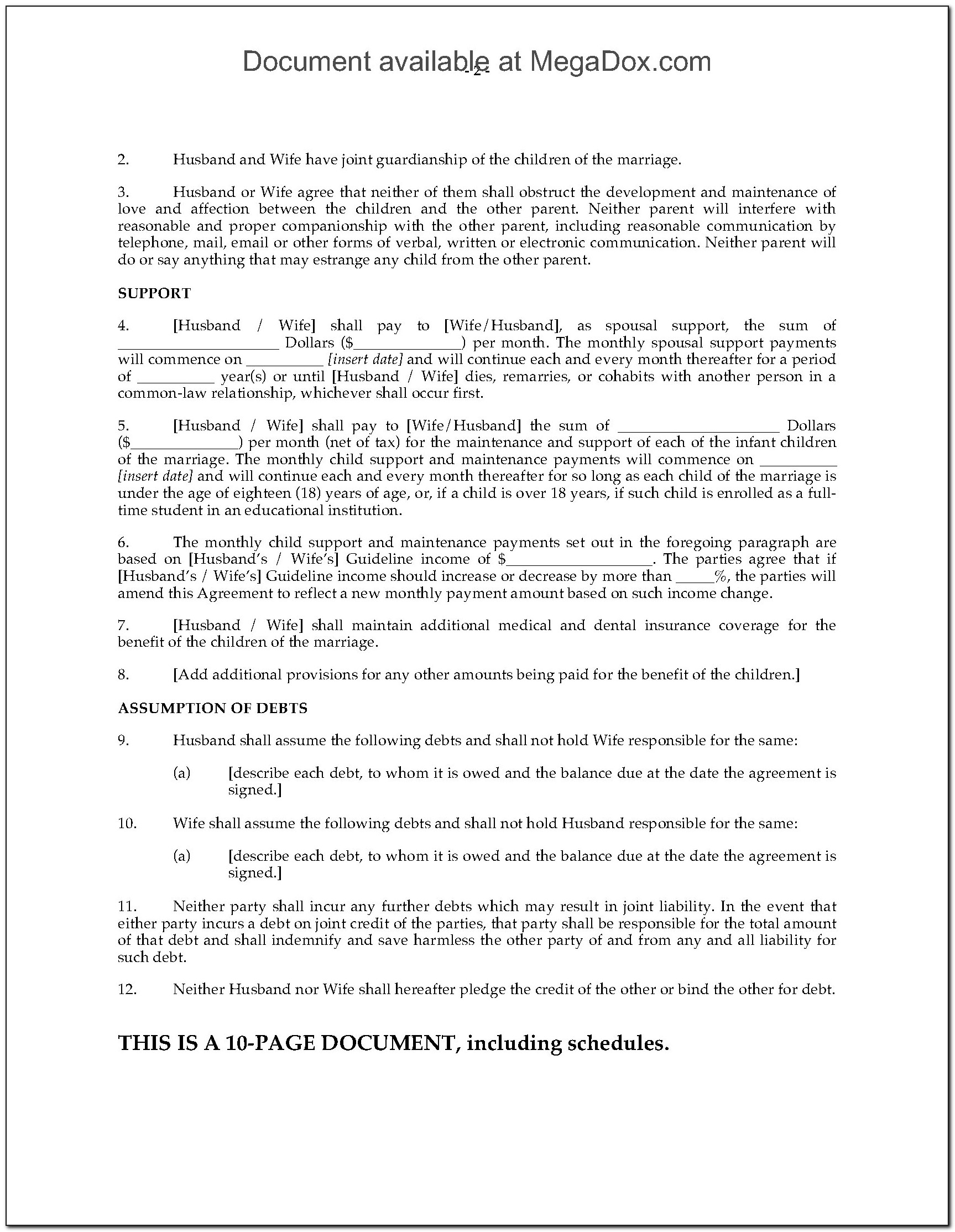 Bc Separation Agreement Form