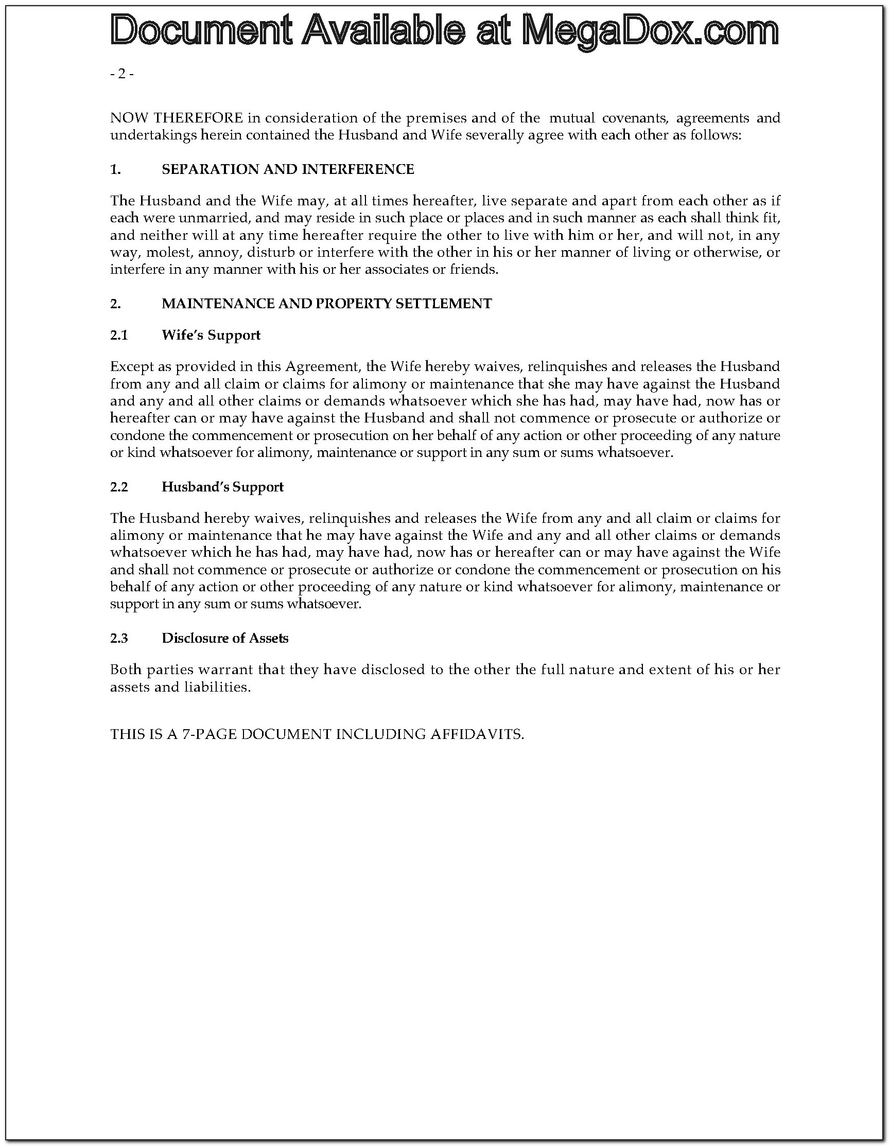 Bc Separation Agreement Sample
