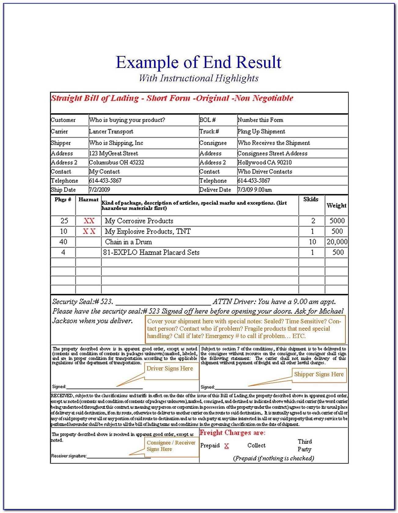 Bill Of Lading Pdf Form