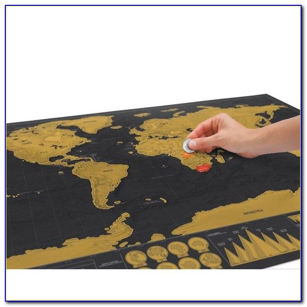 Black And Gold Scratch Off World Map
