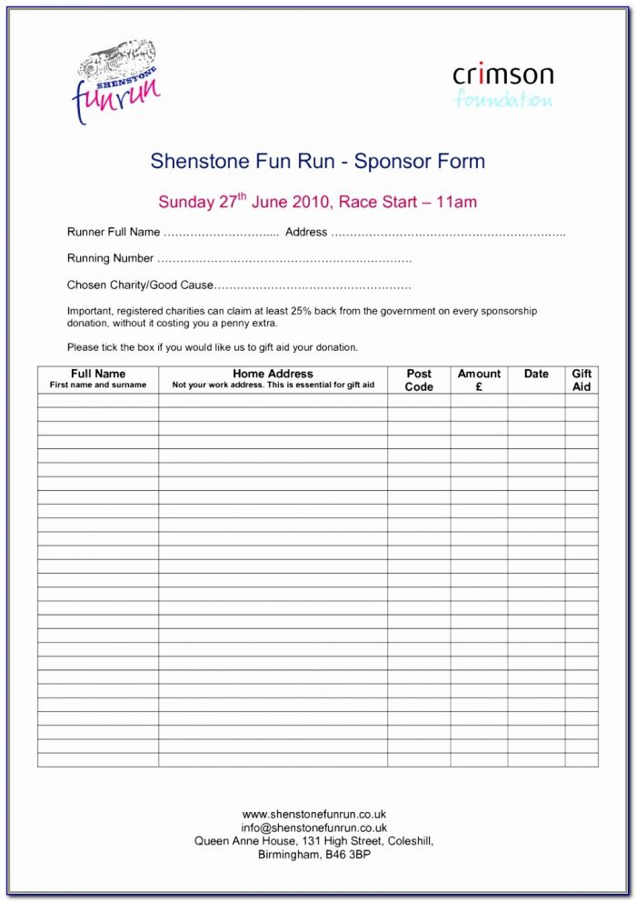 Free Printable Blank Sponsorship Forms Form Resume