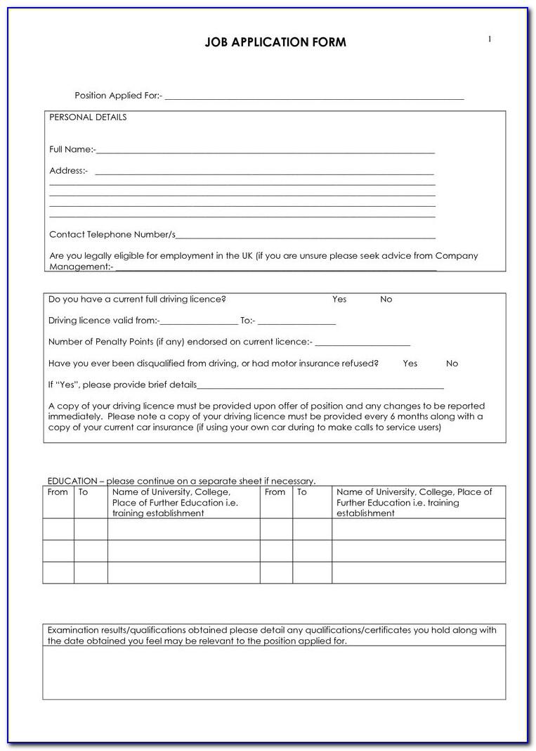 Blank Job Applications To Print