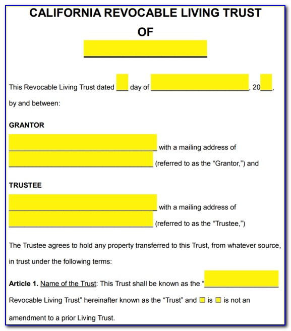 Blank Living Trust Amendment Form