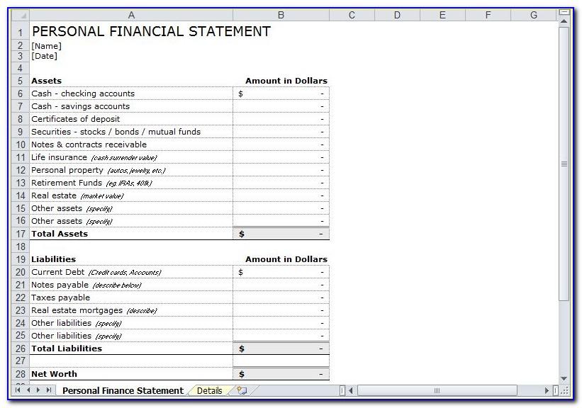 Blank Personal Financial Statement Form Pdf
