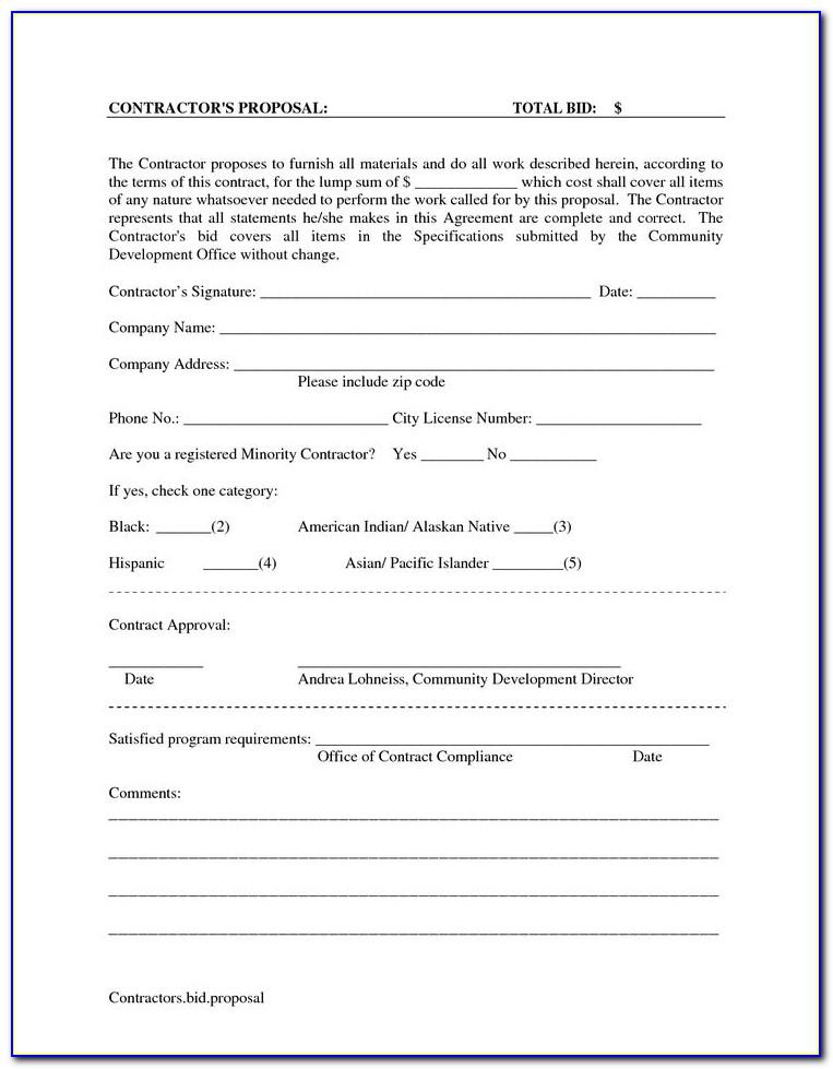 Blank Proposal Forms Printable