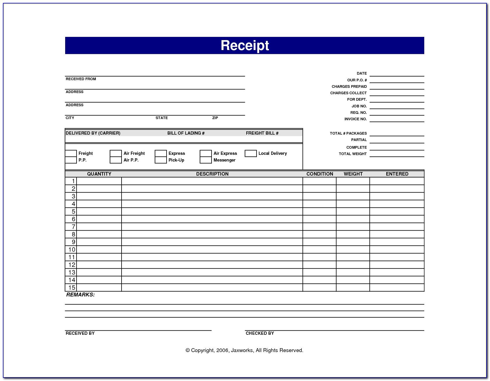 Blank Receipt Form Free