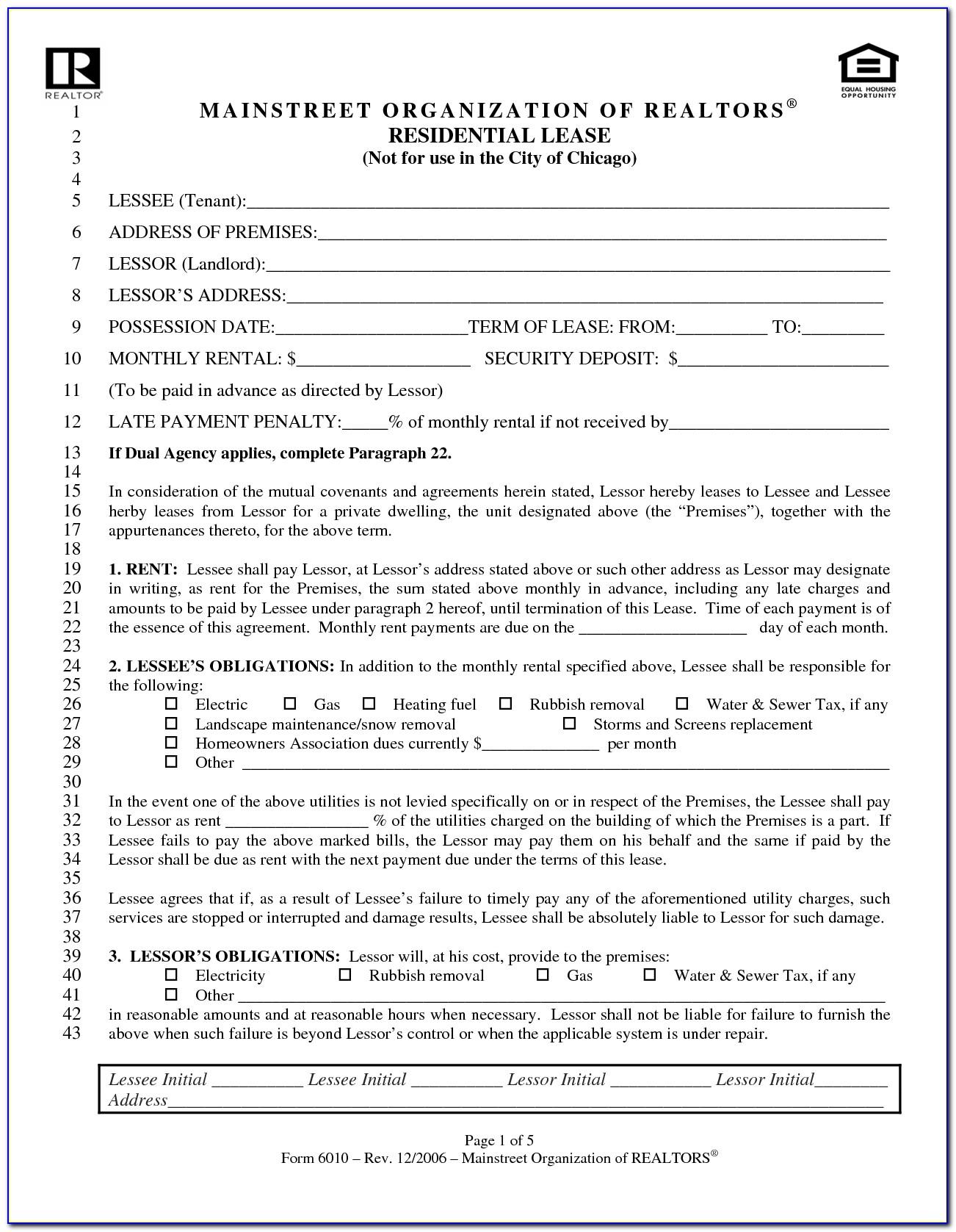 Blank Rental Lease Agreement Form Ohio