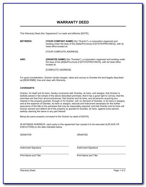 Blank Warranty Deed Form Florida