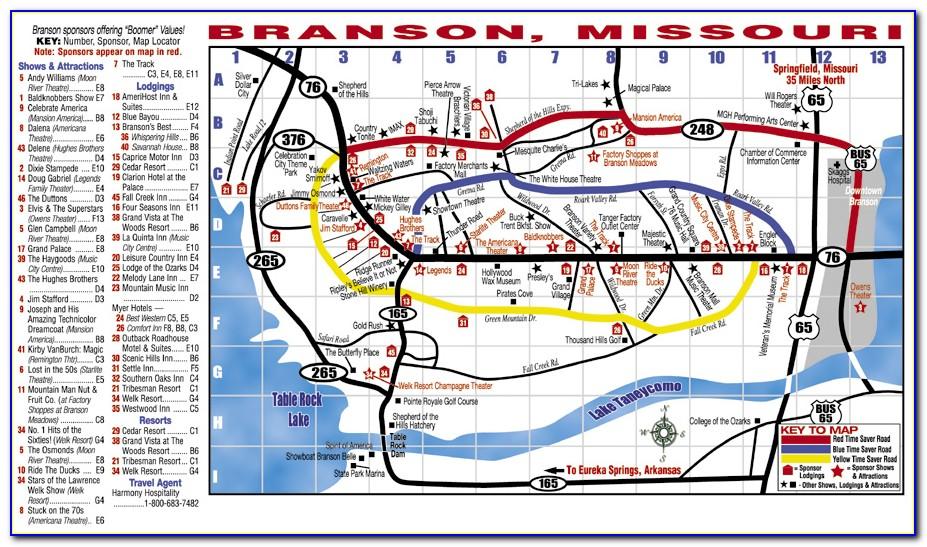 Branson Missouri Map Attractions