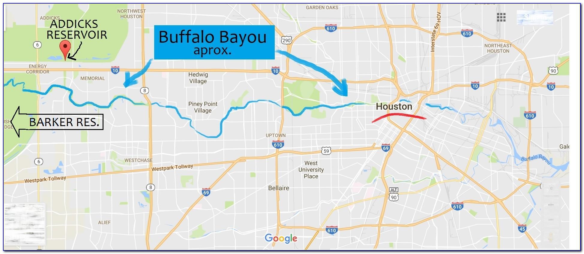 Buffalo Bayou 500 Year Flood Map